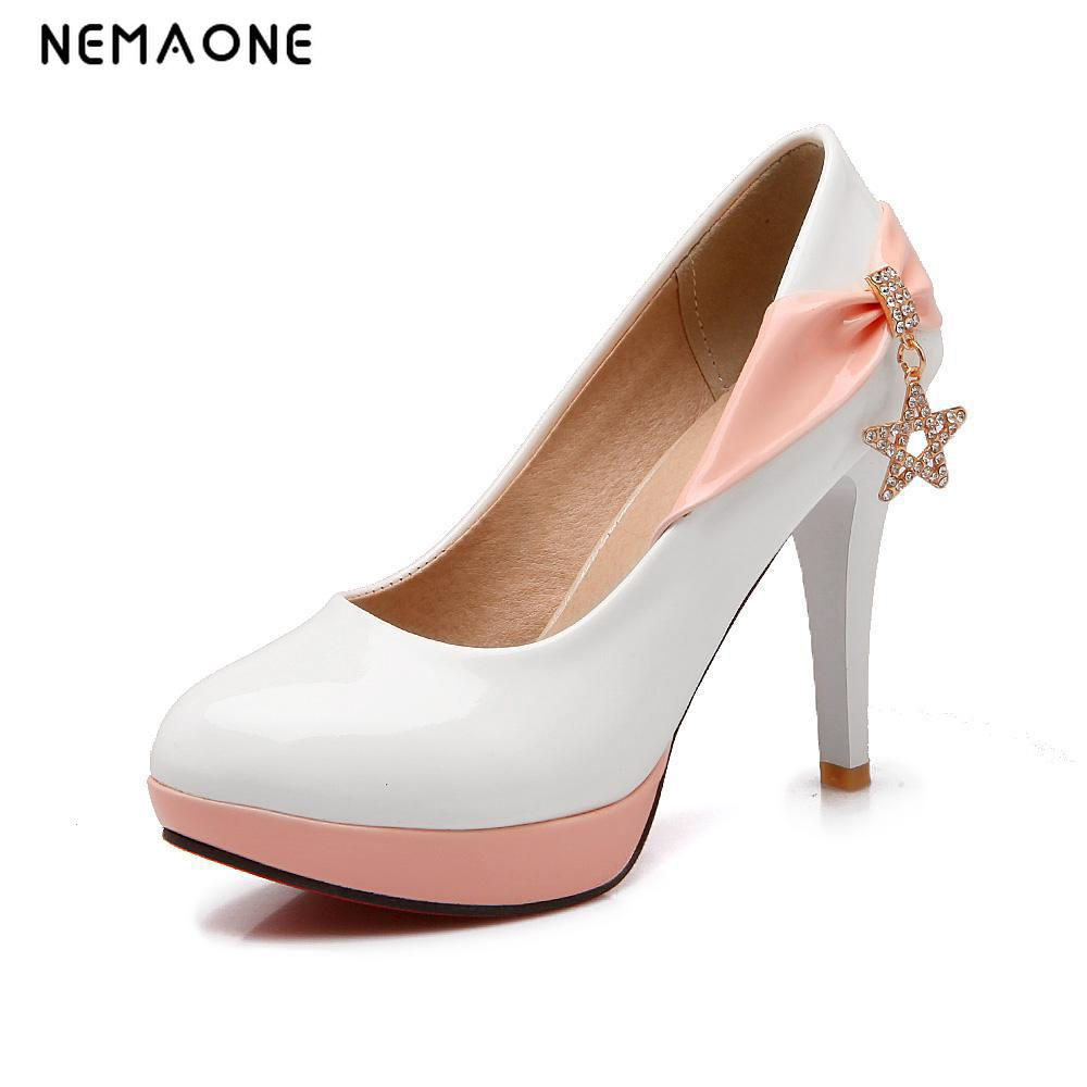 NEMAONE Women summer spring new thin high heels sweet colors classic high quality rouned toe women pumps women shoes new 2017 spring summer women shoes pointed toe high quality brand fashion womens flats ladies plus size 41 sweet flock t179