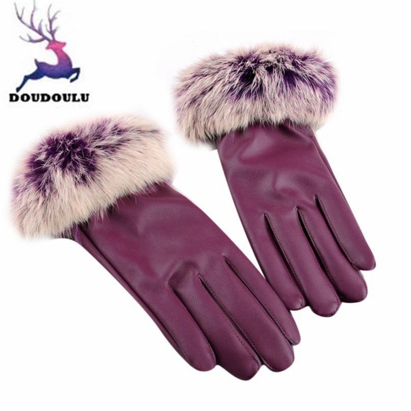 DOUDOULU Elegant Womens Gloves Winter Leather Gloves Women Lady Warmer Faux Rabbit Fur Mittens Drop Shipping#XTJ