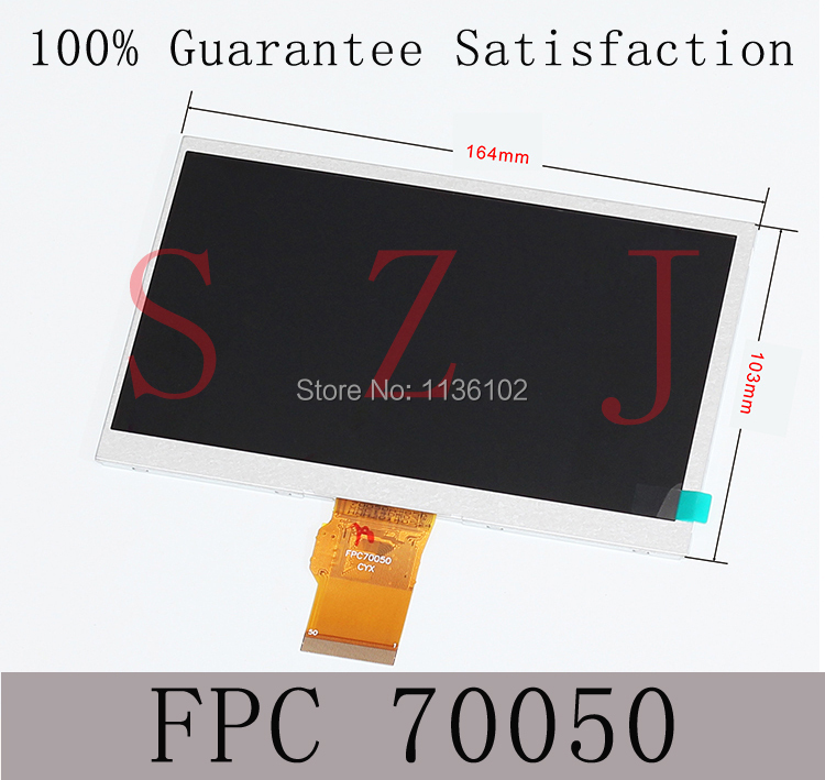 (Ref: FPC70050) 7 inch LCD display 50pin 40-core tablet lcd screen Free shipping 5Pcs/lot