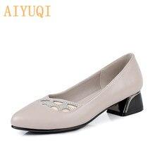 Купить с кэшбэком AIYUQI Women's dress shoes 2019 spring new genuine leather women fashion shoes, big size 41 42 43 rhinestone office shoes women