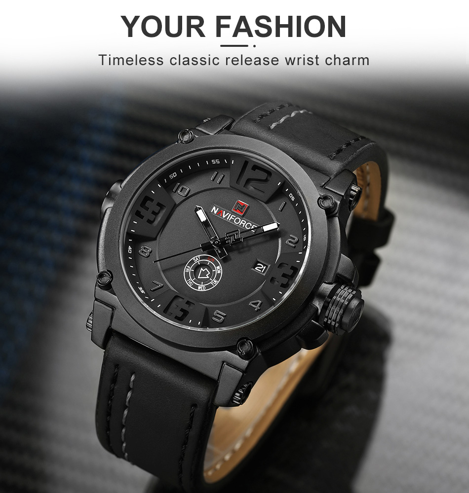 NAVIFORCE Top Luxury Brand Men Sports Military Quartz Watch Man Analog Date Clock Leather Strap Wristwatch Relogio Masculino HTB1HGyle2WG3KVjSZFgq6zTspXap