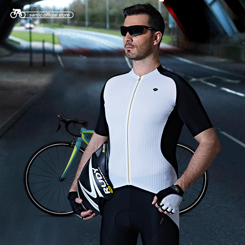 Santic Men Cycling Short Jersey Extreme Fit Imported Water Diffusible Fabric Road Bike Short Sleeve Cycling
