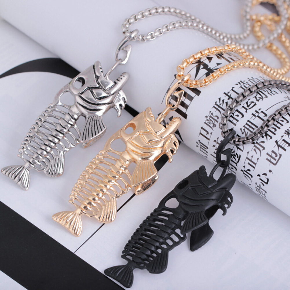1Pcs Exaggerated Fish Bone & Fishing Hook Pendant Necklaces Punk Style Black Gold Silver Color Link Chain Personality Jewelry