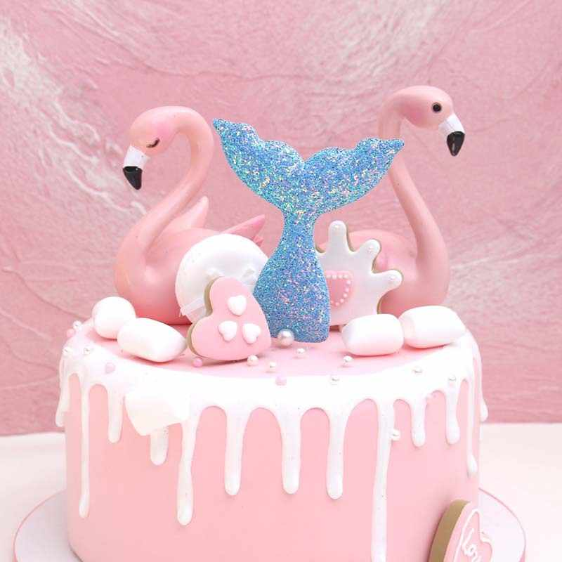 1pc Dream Sea Biling Shiny Mermaid Cake Paper Holiday Party Cute Birthday Decorations Tool Topper