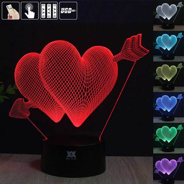 HUI YUAN Creative 3D illusion Lamp Love LED Night Lights 3D Love Acrylic Discoloration Colorful Atmosphere Lamp Novelty Lighting