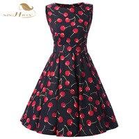 SISHION Brand Dress Summer Women High Quality 1950s Cherry Print Rockabilly Vintage Swing Party Casual Sleeveless