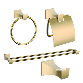 Luxury Gold Wall Bathroom 4 Accessories Hardware Sets KE2500A Clothes Hook Towel Ring Double Pole Towel Rack Toilet Paper Holder