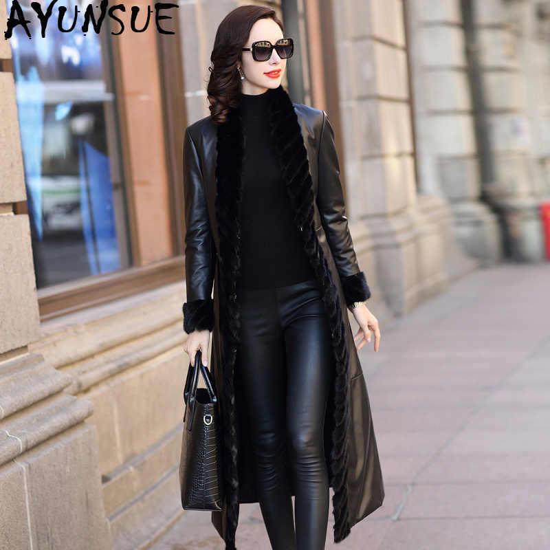 AYUNSUE 100% натуральная овчина пальто женский норковый Меховой Воротник пуховики 2019 зимняя куртка Женская Роскошная куртка из натуральной кожи MY