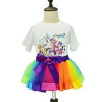 2018 Vestiti Della Neonata Arcobaleno Tutu Skirt + Unicorn T-shirt a Maniche Corte Per Bambini Girl Set abbigliamento Per Bambini