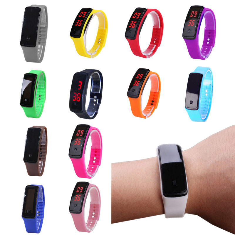 Sport LED Women Men Watches Candy Color Silicone Rubber Touchscreen Digital Watches Bracelet Wrist Watch TT@88