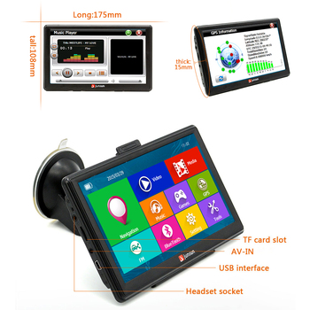 "7"" HD FM Bluetooth Car GPS Navigator - D100 4"