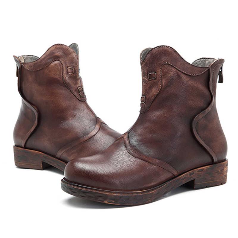 Socofy Vintage Frauen Stiefel Handgemachte Spleißen Echtem Leder Stiefeletten Frauen Schuhe Winter Herbst Boot Motorrad Boote Mujer