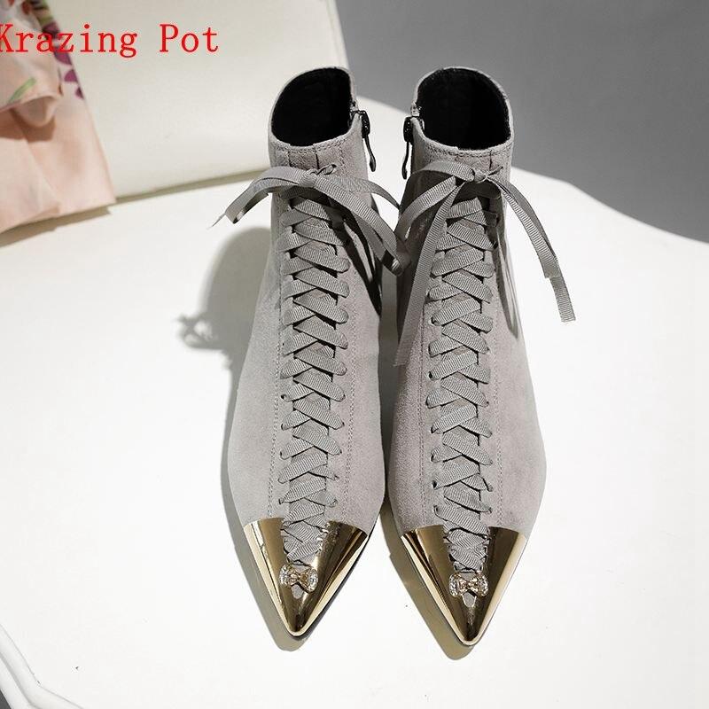 Krazing Pot 2019 아이 스웨이드 지적 금속 발가락 혼합 색상 나비 매듭 med 힐 유럽 디자이너 발목 부츠 L25-에서앵클 부츠부터 신발 의  그룹 1