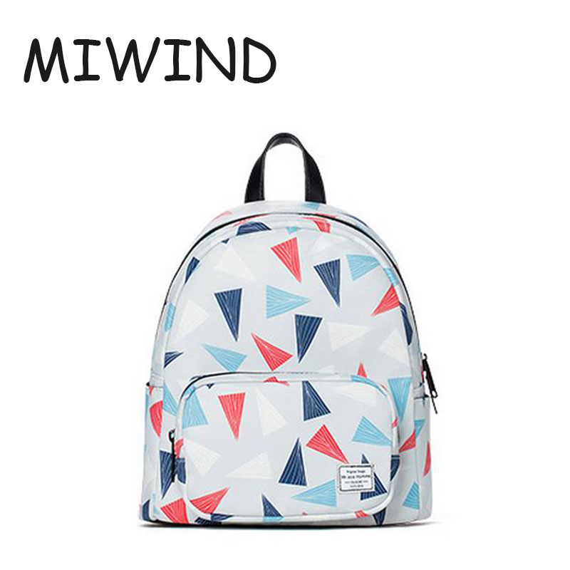 ФОТО Spring Style Teenagers Girls Triangle Printed School Bags PU Leather Zipper Ladies Fashion Travel Backpack