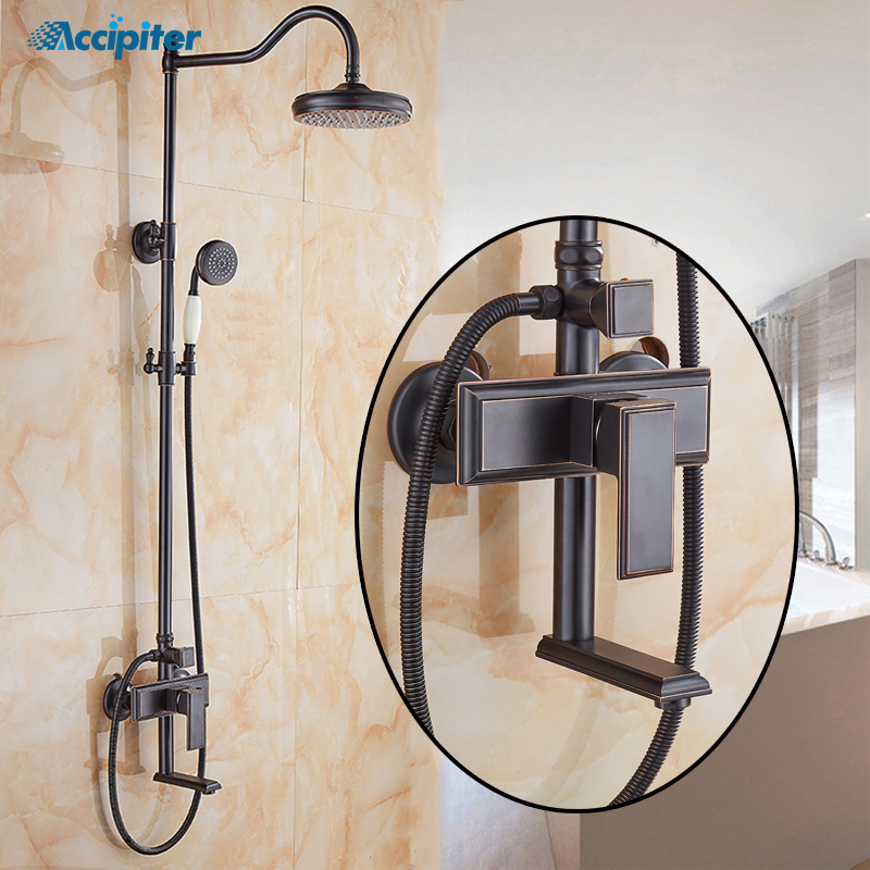European style Bathroom Black Shower Set  Wall Mounted 8 inch Rainfall Shower Mixer Tap Faucet 3-Functions MixerEuropean style Bathroom Black Shower Set  Wall Mounted 8 inch Rainfall Shower Mixer Tap Faucet 3-Functions Mixer