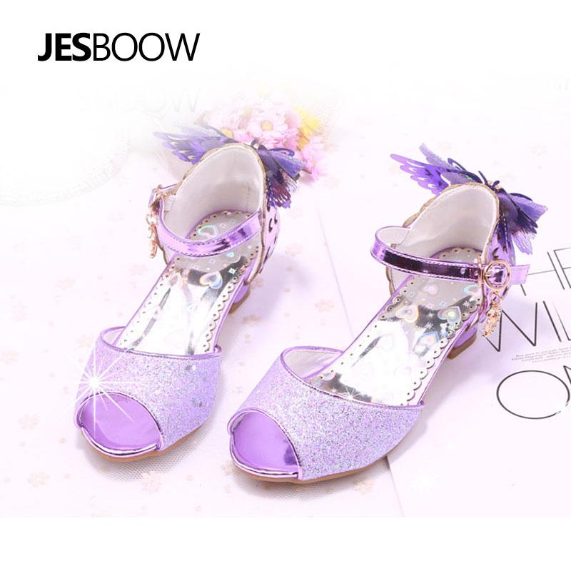Maluch Little Girls Low Heel Sandały Cekiny Butterfly Strap Princess - Obuwie dziecięce - Zdjęcie 2