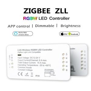 Image 2 - LED בקר RGB + CCT RGBW WWCW LED רצועת בקר DC12/24 V ליניארי אור דימר APP LED בקר