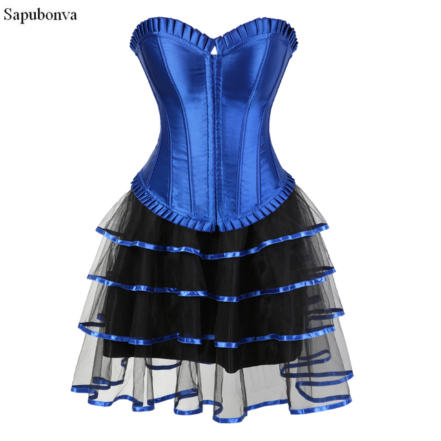 Sapubonva corsets dress with skirt blue victorian exotic halloween costumes  corset bustiers for women brocade sexy 660d3740284a