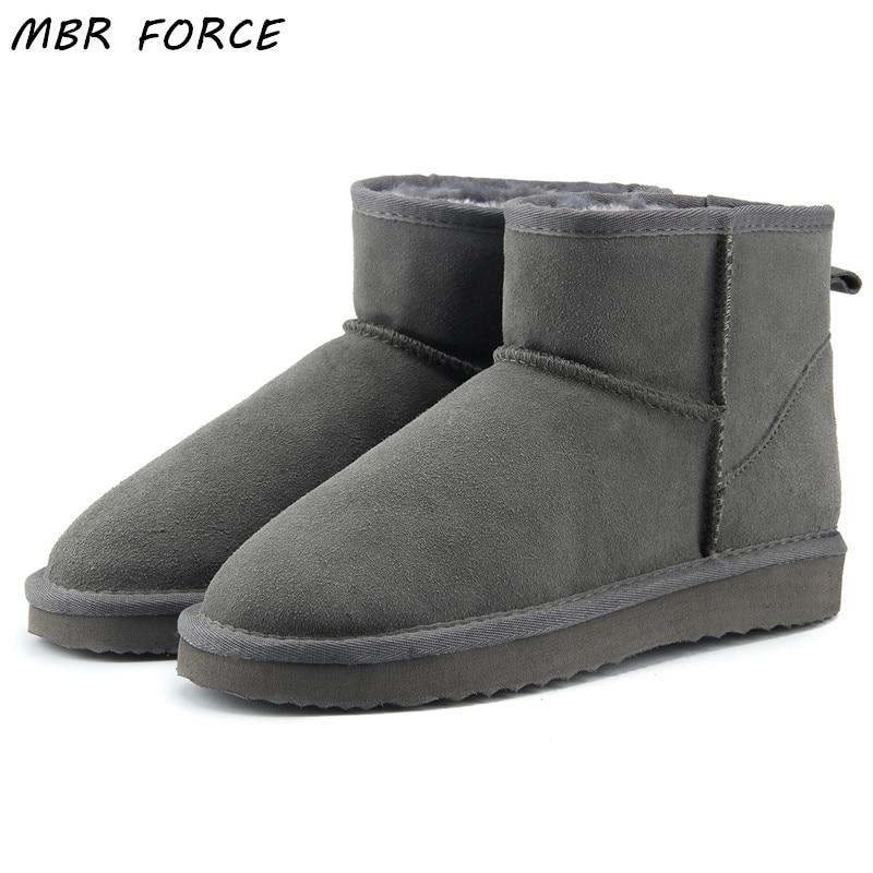 MBR FORCE Haute Qualité En Cuir Véritable Australie Classique 100% Laine neige bottes Femmes Bottes chaussures Chaudes d'hiver pour les femmes NOUS 3-13