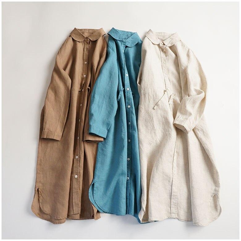Printemps automne femmes lâche grande taille brève confortable 14*14 eau lavé robes de chemise en lin