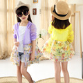 2017 New Teenage Girls Summer Thin Cardigan Jacket Ultra Light Medium-long Floral Child Sun Protection Clothing 4-14 Years