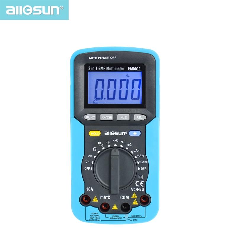 Tous-soleil 3in1 voltmètre multimètre numérique ampèremètre ohmmètre DC AC EMF Multimètre Automobile Testeur EM5511