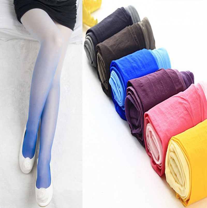 80D Gradient Colors Tights Women Sexy Pantyhoses Colors Change Leg Slimming Stockings Candy Colors Fashion