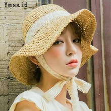 Summer Boater Hats For Women Straw Sun Hat Lady Girls Lace Ribbon Bow Panma Beach Hat Floppy Female Travel Folding Chapeu