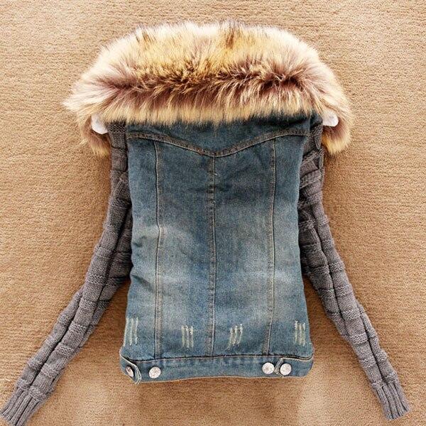 2018 Fashion Good Quality Winter Women Jeans Coat Fleece Short Denim Jacket Slim Fur Collar Outerwear Tops 4