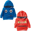 2013 Winter boy hooded long sleeved fleece coat free shipping 5 pieces/lot blue and red color size 80-120