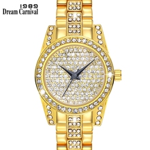 Dreamcarnival 1989 New Luxury Quartz Watch for Women Full Crystals Dial Three Hands Kuwait Hot Selling Rhodium Gold Color A8316