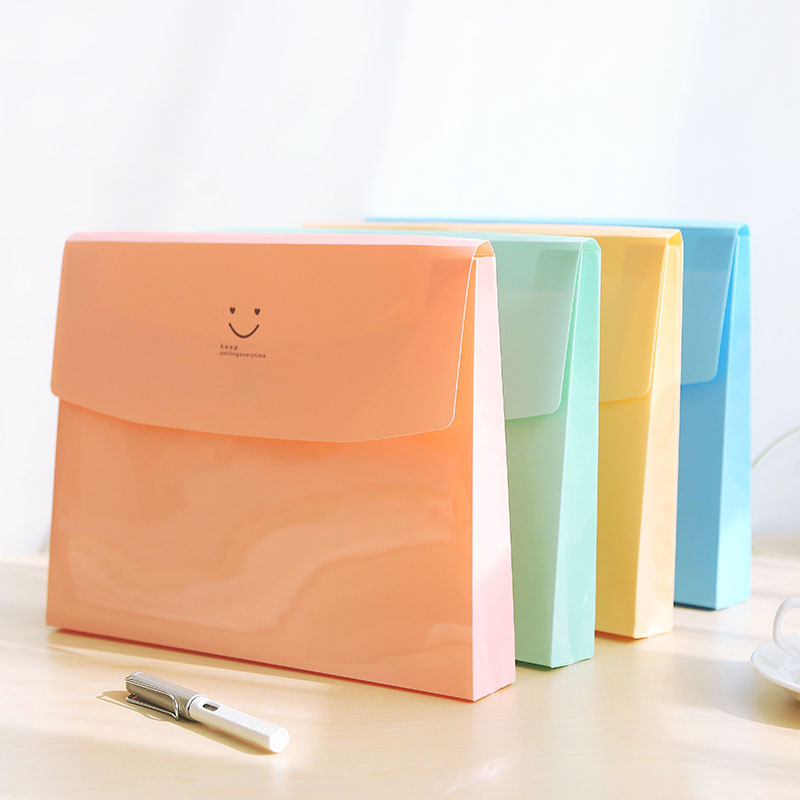 Candy Color A4 File Folder Bag Expanding Wallet PVC File Organizer Document Bag Fichario Escolar The Office School Supplies