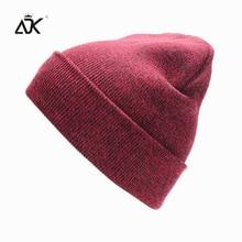 Plain Knitted Hat Winter Cap Women's Polyester Soft Unisex Bonnet Hat Female Casual Hip Hop