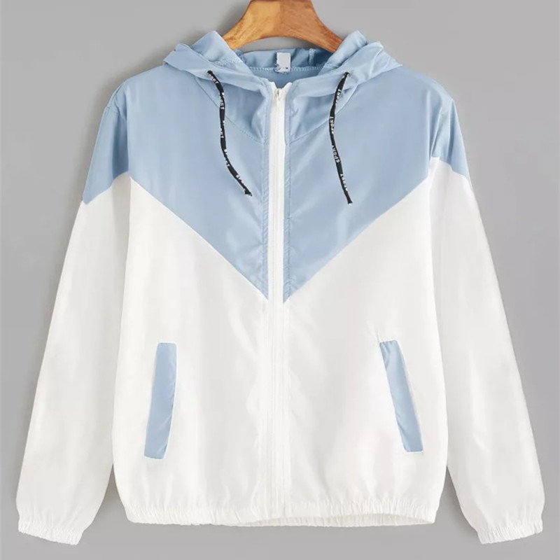 Europe and the United States in the summer 2018 women s clothing color matching elastic waist Europe and the United States in the summer 2018 women s clothing color matching elastic waist hooded jacket