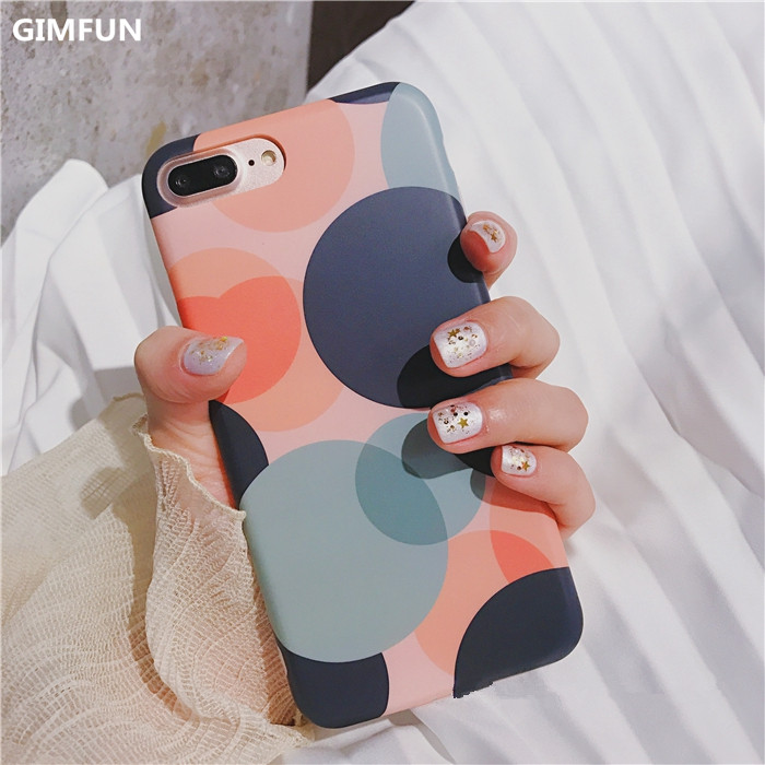 GIMFUN New  Wave Point pattern Case for Iphone 7 7plus 6 6S 6plus Tpu Silicone geometry  IMD Back Cover Case  Fundas