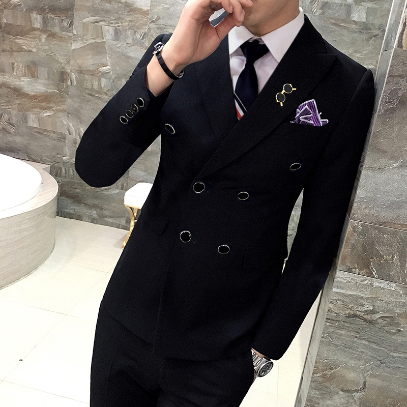 Male slim solid color double breasted blazer suit 3 piece set Groom Wedding Suits For Men Dress Suit Dinner Party Prom Suits