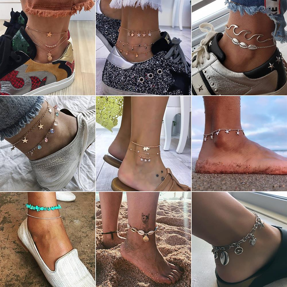 15 Styles Simple Heart Female Anklets Barefoot Crochet Sandals Foot Jewelry Leg New Anklets On Foot Ankle Bracelets For Women