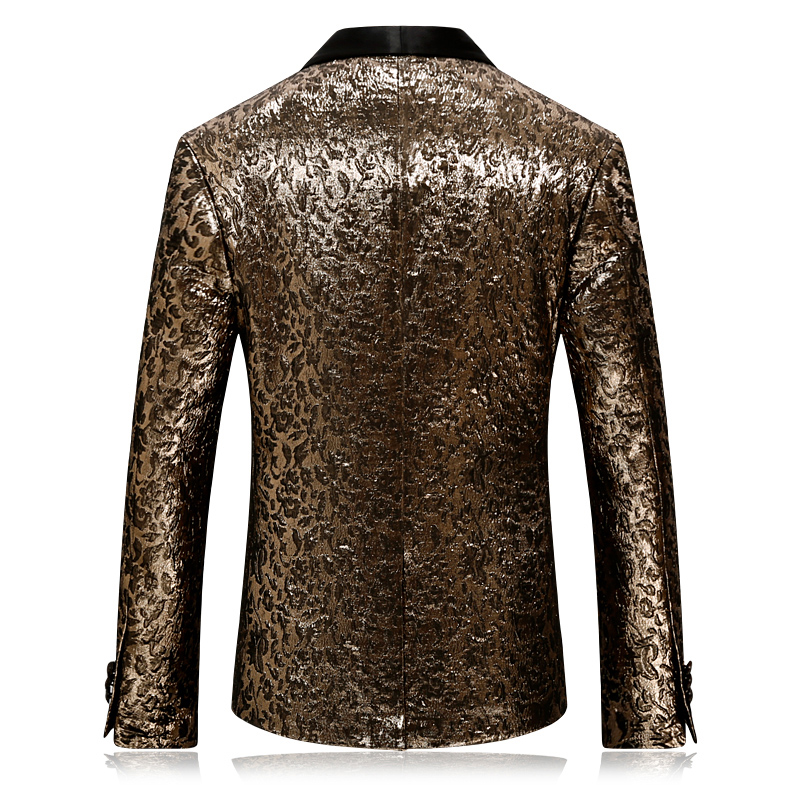 Leopard mens suit jacket print gold classic men 2017 fashion pioneer leisure stage clothes M-4XL