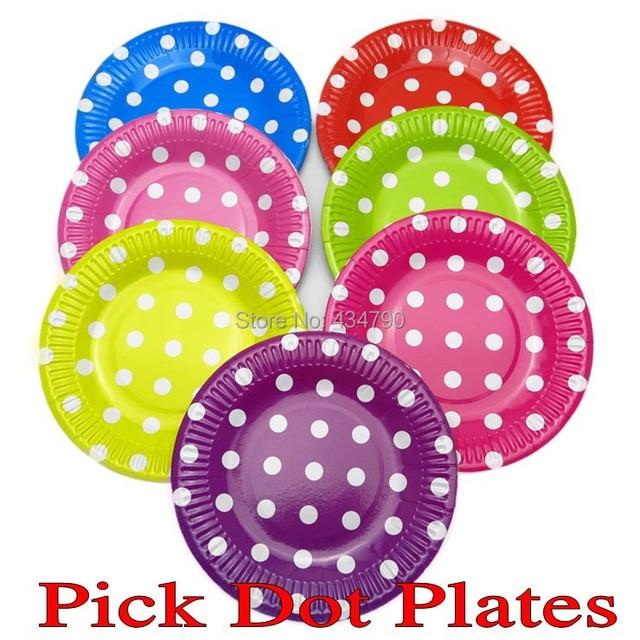 60pcs 9  Mixed Colors Polka Dot Paper PlatesPurple ColoredKids Picnic Decorative  sc 1 st  AliExpress.com & 60pcs 9