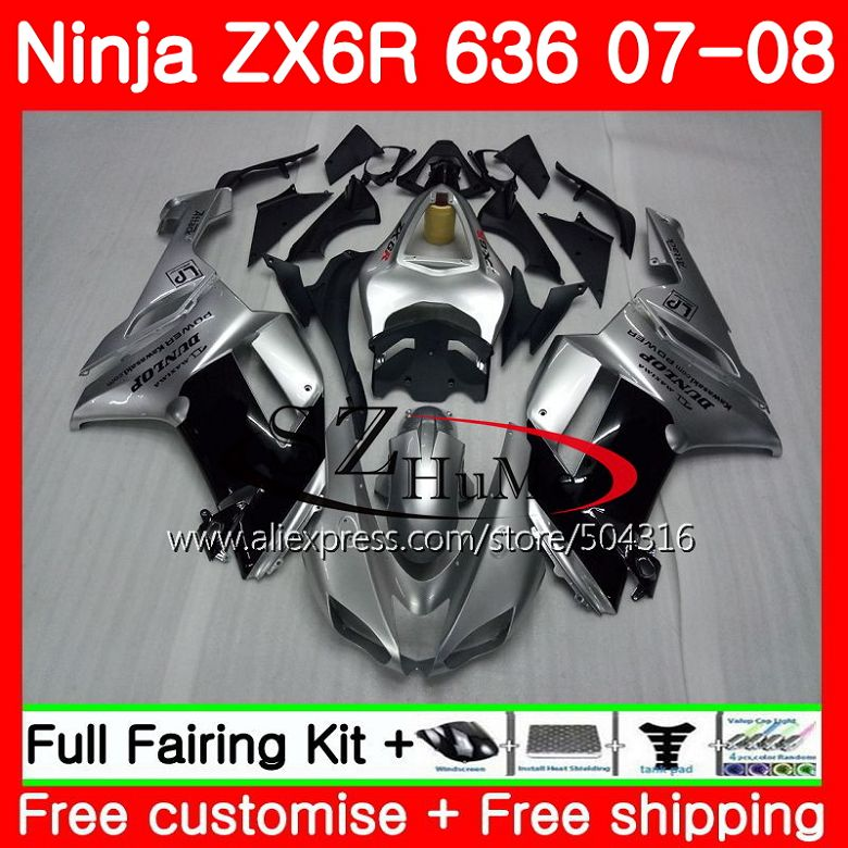 Body For KAWASAKI NINJA ZX 6R 07-08 600CC ZX-636 ZX636 8SH4 ZX600 Silver black ZX6R 07 08 ZX 636 ZX-6R 2007 2008 Fairings kit Body For KAWASAKI NINJA ZX 6R 07-08 600CC ZX-636 ZX636 8SH4 ZX600 Silver black ZX6R 07 08 ZX 636 ZX-6R 2007 2008 Fairings kit