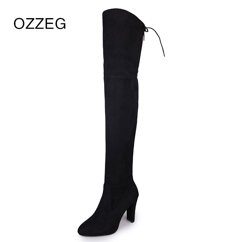 Winter Women Faux Suede Thigh High Boots Fashion Over the Knee Boot Sexy Overknee High Heels Woman Shoes Warm Snow Boots Female mcckle 2017 female winter thigh high boots exquisite embroidery flower faux suede high heels over the knee shoes plus size 34 43