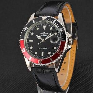 Image 2 - זוכה ייחודי Twotone עיצוב לוח קלאסי תאריך אוטומטי מכאני עצמי רוח שעון אופנה מזדמן עור שעון יד