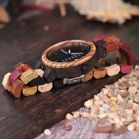 BOBO BIRD Wood watch Lover Couple Watches Men Show Date Ladies Wristwatch Women Quartz Male bayan kol saati Gift in Wood Box Multan
