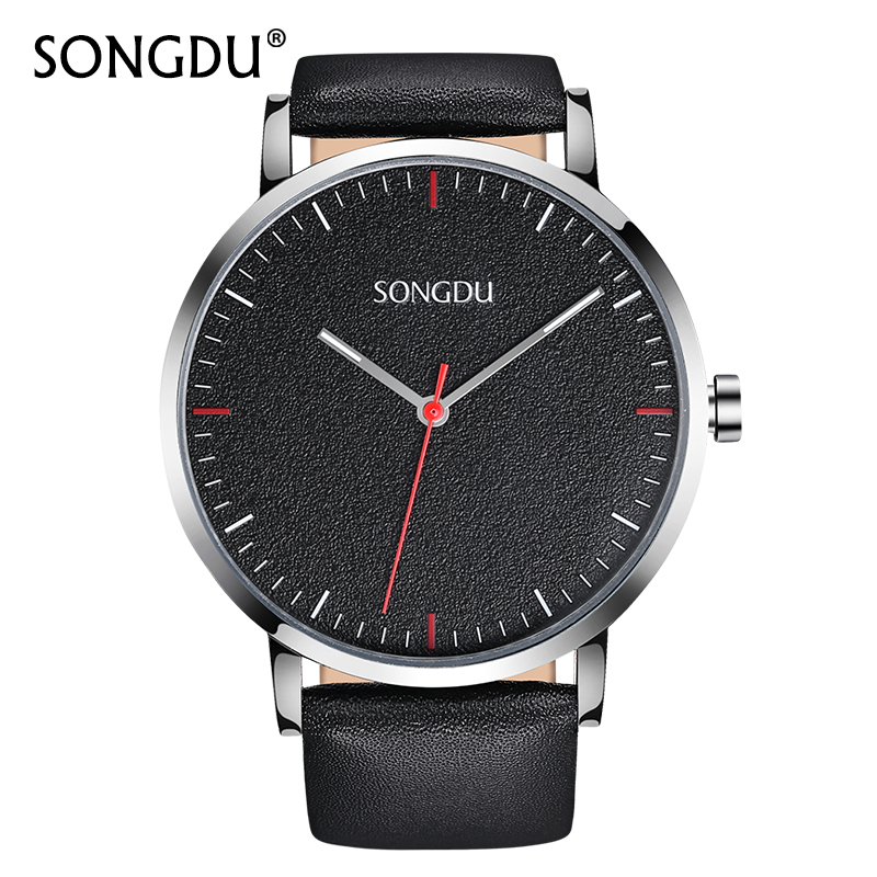 Watch Men Top Brand Fashion 2017 New SONGDU Mens Watches Male Large Dial Leather Strap Clock Waterproof Wristwatch Gift Hot Sale gnoth top brand men watch leather quartz analog hour fashion sapphire clock male waterproof wristwatch hot sale 2017 new arrival
