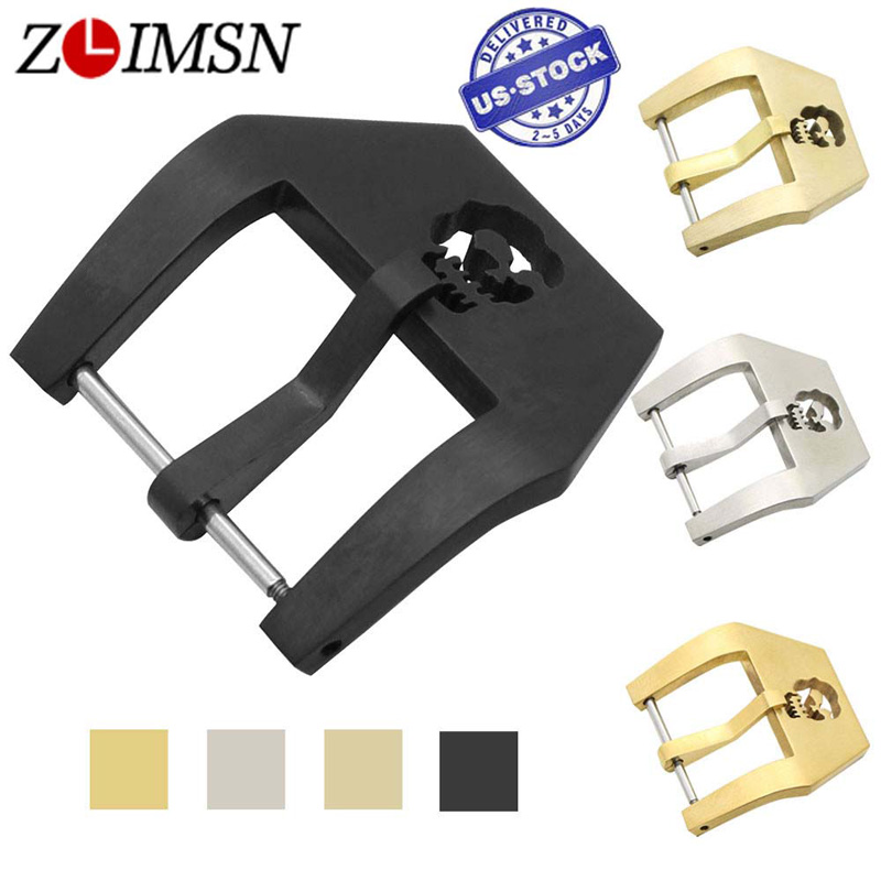 ZLIMSN 316L Solid Stainless Steel Watch Buckle Replacement Gold Silver Black 20 22 24 26mm Skull Clasp for Men's Women's Watches zlimsn watch buckle silver black gold color screw in watchband metal buckles replacement 18 20 22 24 26mm relojes hombre 2017