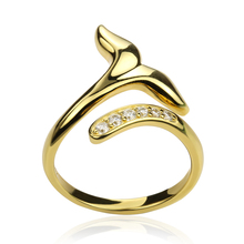 ФОТО 925 sterling silver mermaid tail open rings for women gold color adjustable wedding ring with cubic zirconia fashion jewelry