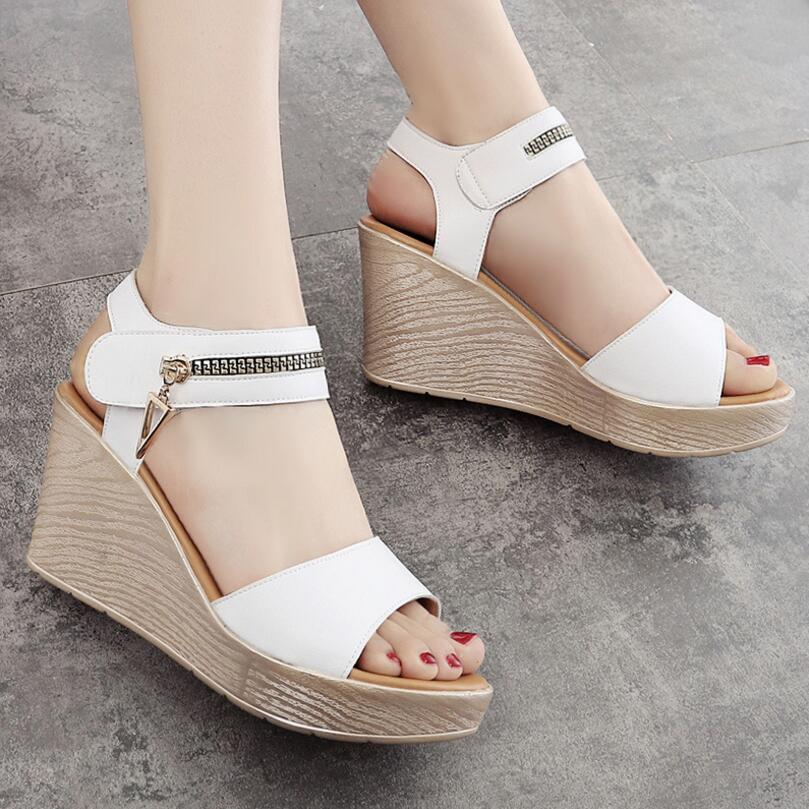 {D&Henlu} Women Summer Shoes Woman Gladiator Sandals Womens Sandals 2018 Summer Open Toes Platform Sandal Wedge sandalias mujer недорго, оригинальная цена