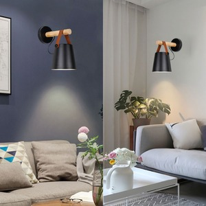 Image 3 - Wall sconce modern Wooden Nordic design Wall Lamp With Switch Living Room corridor hotel E27 Wall Lamp For Bedrooms
