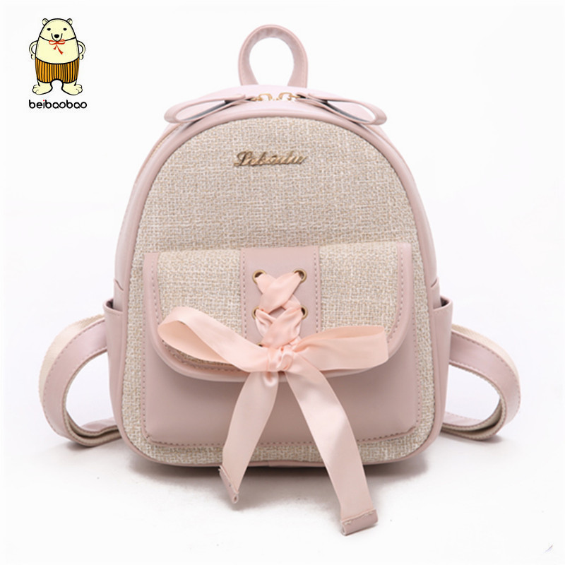 Beibaobao Fashion Simple Preppy Style Small Backpack for Teenage Girl Casual Schoolbag Silk Bow Design Shoulder Bag 1