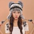 2016 новый стиль подлинная кролика шляпы женщины зима теплая Бомбардировщик Шляпы девушки моде Вязаные шапки леди Мочка Уха Шляпы